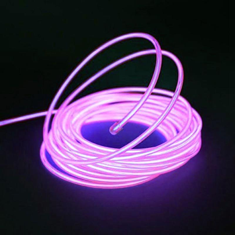 Fil-Electroluminescent-Fil-de-Neon-Lumineux-El-Fil-avec-Controleur-de-Pile-SC miniature 14