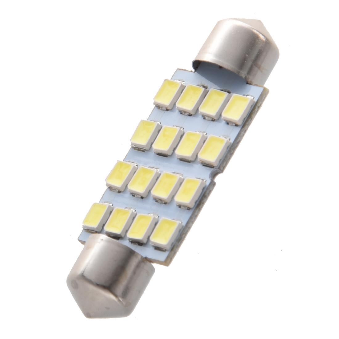SODIAL 4 pzs 42mm 16 SMD LED Blanco Bombilla Luz Interior de feston de cupula de coche LED bombillas R