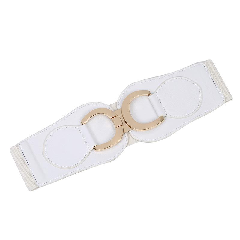 Goldfarbe-Dual-D-Ring-Schnalle-breiter-elastischer-Guertel-fuer-Frauen-Y1I3 Indexbild 4