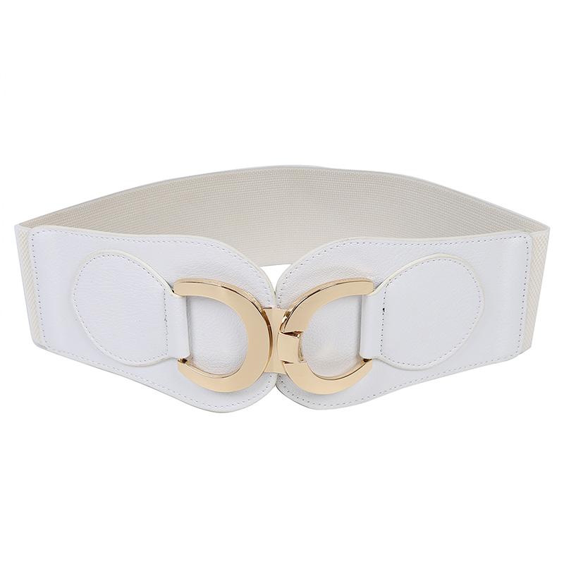 Goldfarbe-Dual-D-Ring-Schnalle-breiter-elastischer-Guertel-fuer-Frauen-Y1I3