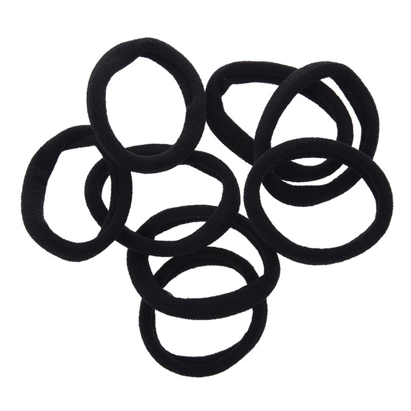 8pzs Negro Sujetador de lazo del pelo banda elastica Sujetador de cola de caball