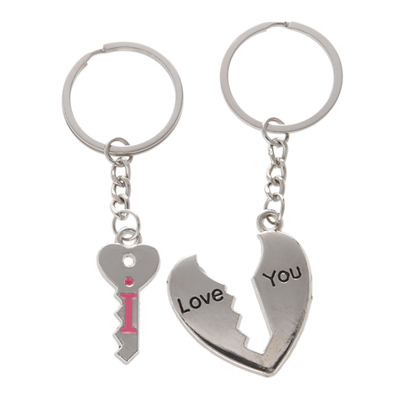 Couples Silver Tone Metal Heart Key Pendant Keychains Keyrings T8N2
