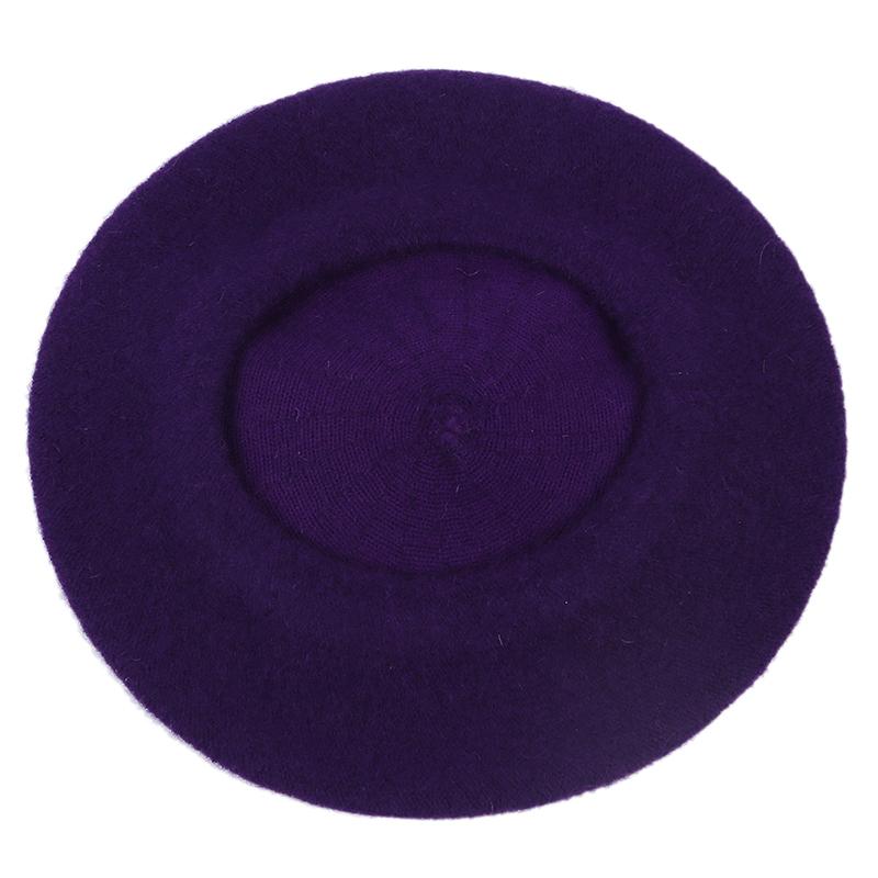 Beret-Artiste-Francais-Couleur-Pleine-Laine-Fille-Hiver-violet-X2N3 miniature 4