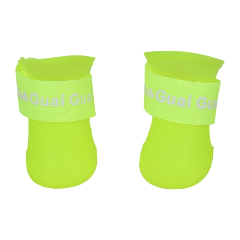 thumbnail 3 - 1X(Fluorescent yellow M,Pet Shoes Booties Rubber Dog Waterproof Rain Boots X8M5)