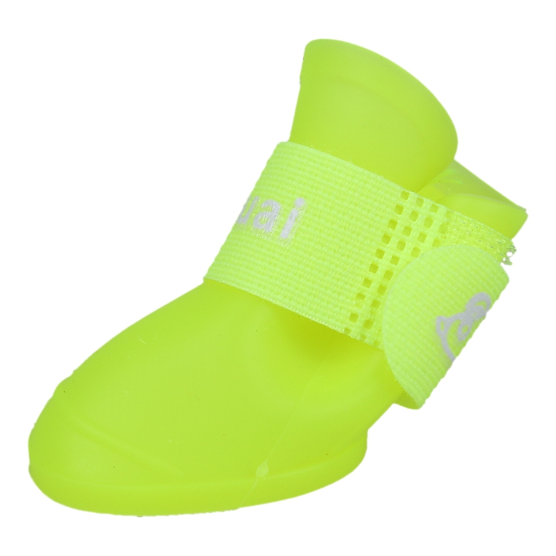 thumbnail 4 - 1X(Fluorescent yellow M,Pet Shoes Booties Rubber Dog Waterproof Rain Boots X8M5)