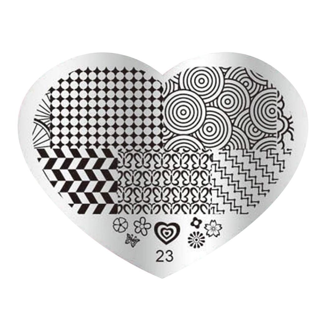 2X(DIY Nagel-Kunst-Bild-Stempelplatten Manikuere Schablone Stanzen ...