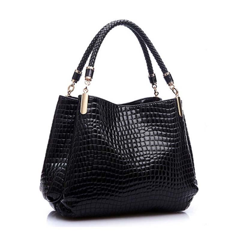 edf1074493b3 Image is loading Women-Crocodile-Pattern-Leather-Shoulder-Bag-Female-Tote-