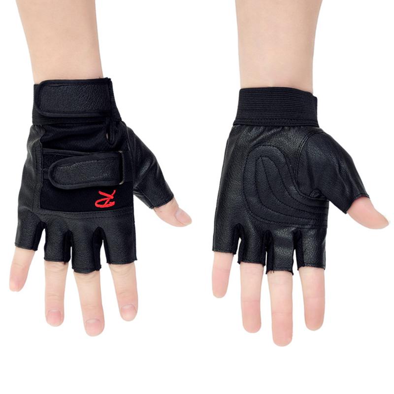 Gants-de-demi-doigts-antiderapant-en-PU-cuir-pour-course-de-velo-sports-en-3K9 miniature 3