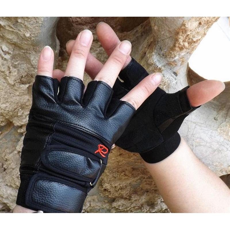 Gants-de-demi-doigts-antiderapant-en-PU-cuir-pour-course-de-velo-sports-en-3K9 miniature 5