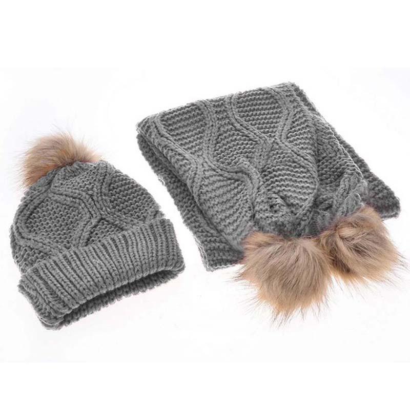 Womens-Stylish-Rhombus-knitting-Hairball-Hat-Scarf-Set-C1N4 thumbnail 11