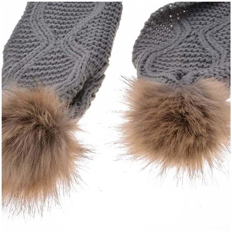 Womens-Stylish-Rhombus-knitting-Hairball-Hat-Scarf-Set-C1N4 thumbnail 13