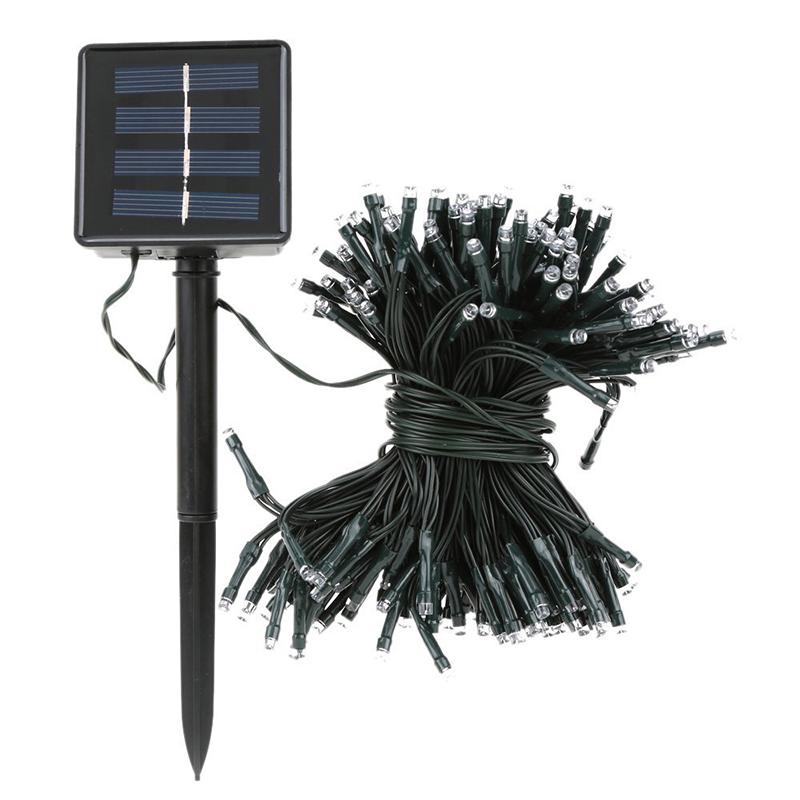 Energía Solar Impermeable 100 LED luces de cadena de hadas para la decoración W2F9