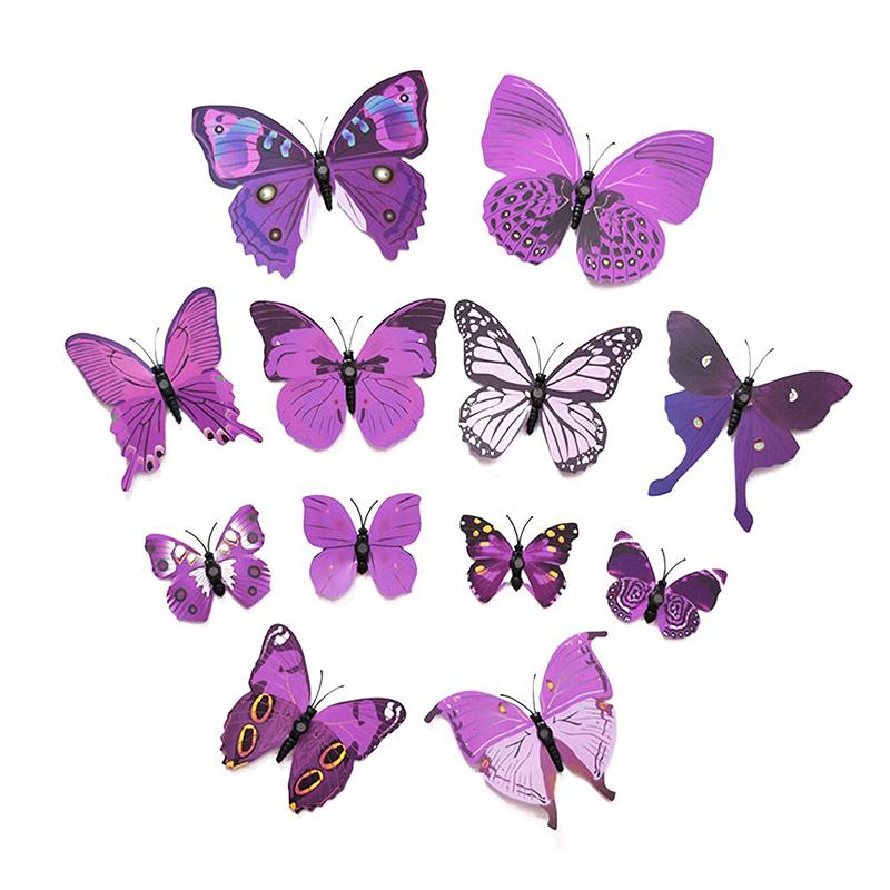 12 Pcs Nouveau Stickers Muraux 3d De Papillon Pour La Decoration