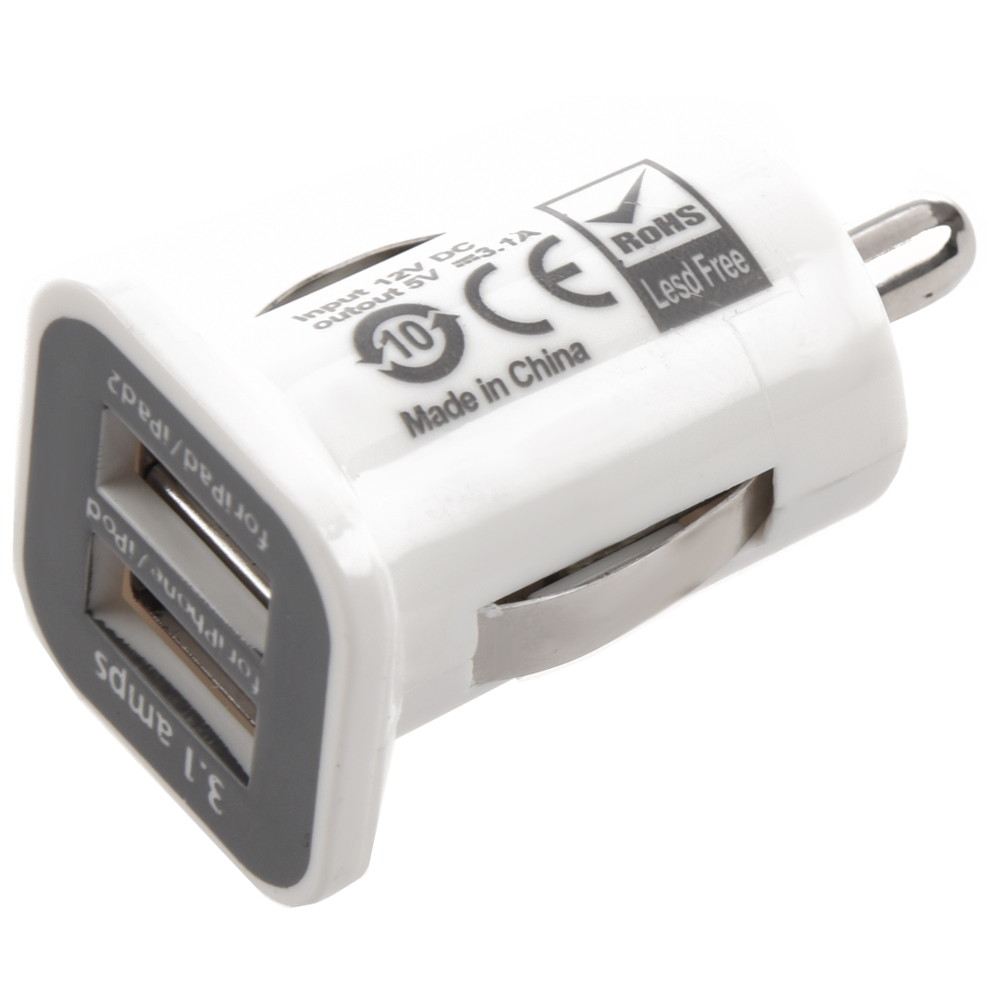 White 3 1a Dual Usb Car Charger Adapter For Ipad Ipad2