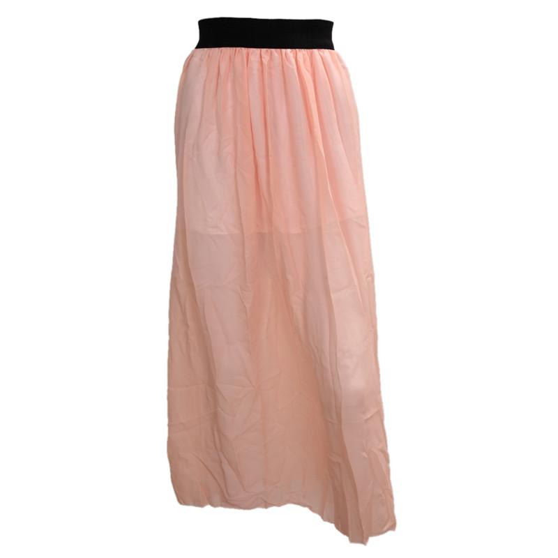 acheter en ligne c616a 10ed9 Détails sur Jupe Longue en Mousseline de Soie Femmes Cheville Longue Taille  Elastique J I7J4