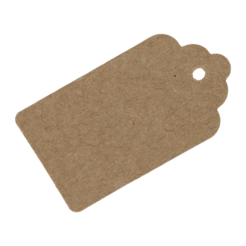 2X-Pack-50-Rustic-40mmx70mm-Scalloped-Kraft-Paper-Card-Blank-Brown-Tag-Wedd-B5O1 thumbnail 3