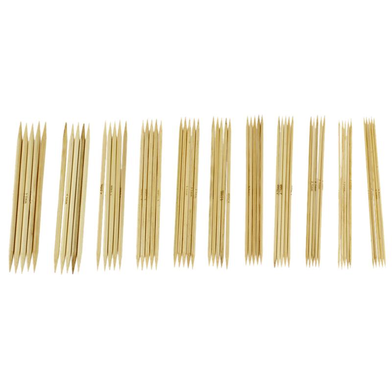 Aiguilles a Triceter Avec La Pointe Double En Bambou Carbonise 44Pcs B7T5