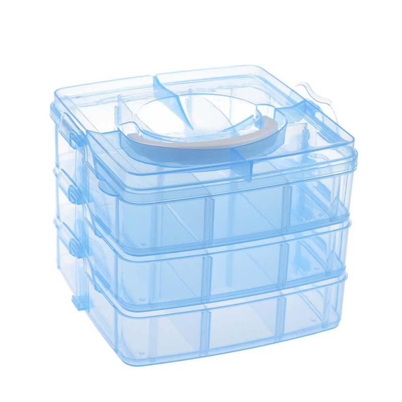 Blue Plastic Empty 3 layer Storage Case Box Nail Art Craft Makeup ...