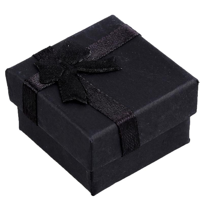 24 Stück Ring Ohrring Schmuck Display Geschenk Box Schleife Quadratisch Kas N308