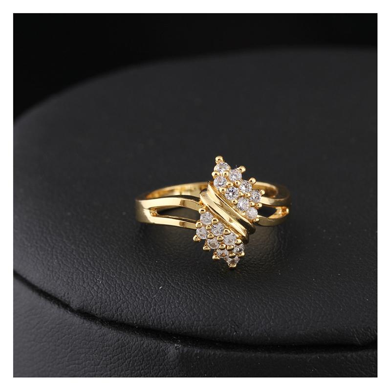 Anillo-de-Boda-de-Cristal-de-Diamante-de-Imitacion-Redondo-Chapado-en-Oro-B4F5 miniatura 3