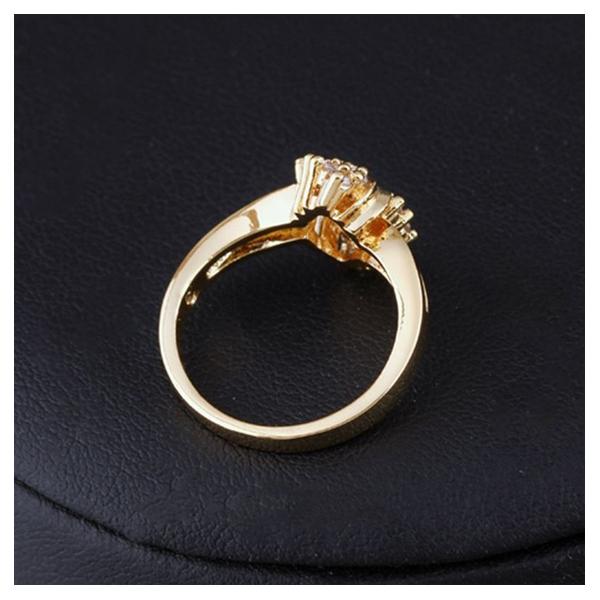 Anillo-de-Boda-de-Cristal-de-Diamante-de-Imitacion-Redondo-Chapado-en-Oro-B4F5 miniatura 4