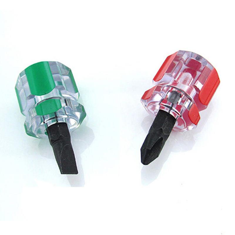 New Fashion 2 Pcs Flat Phillips Screwdriver Mini Screw Driver Short Small Split Repair Tools Kit Set Green+red Hand Tools Screwdriver
