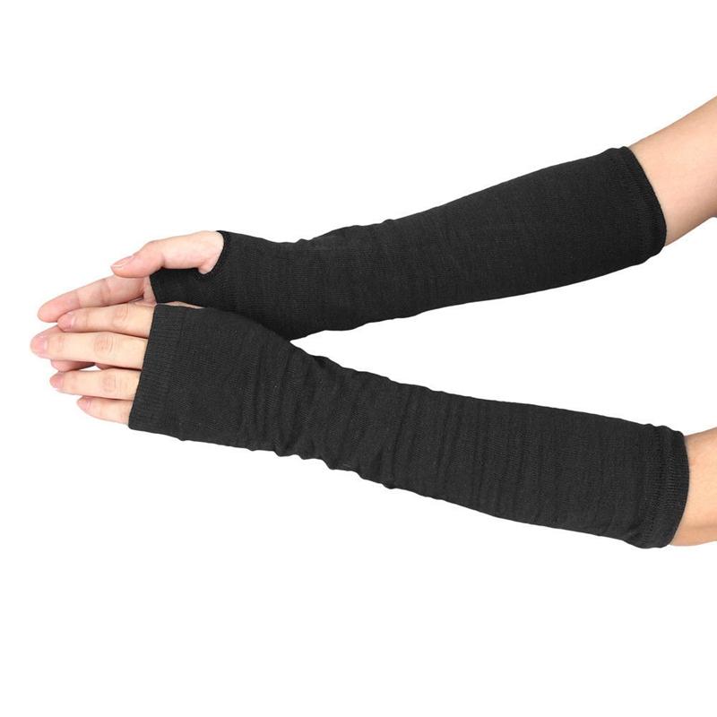 Männer Frauen Unisex Gestrickte Fingerlose Handschuhe Weiche Warme Lange M I6Z4