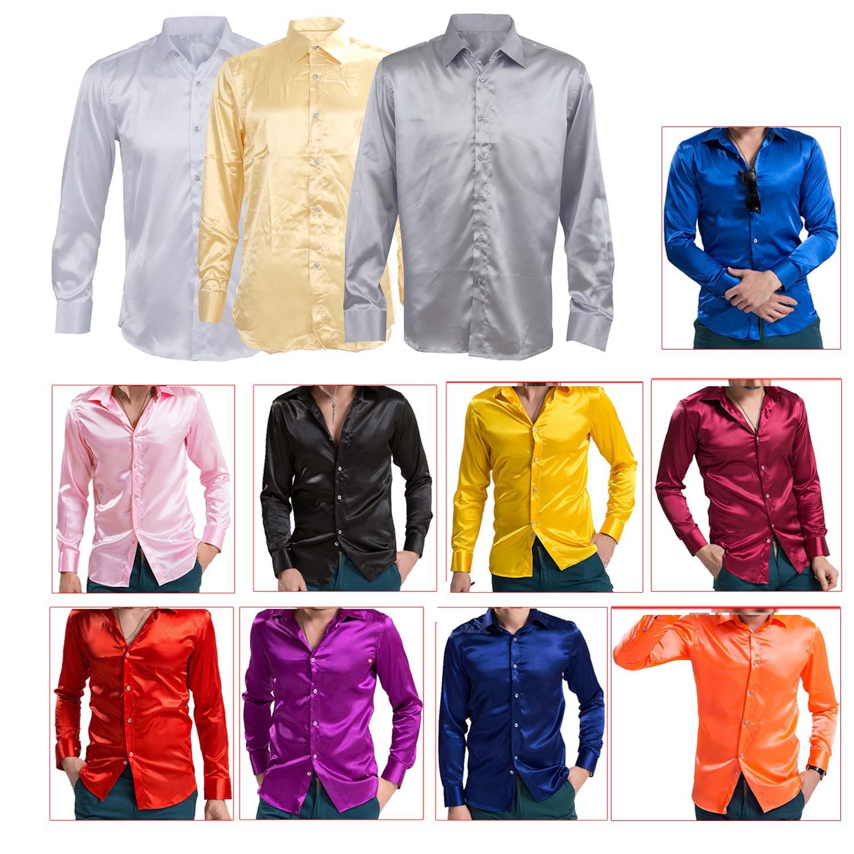 ... Seda Emulacion para Hombre Camisas manga larga Saten H6). 5X(Tipo de  articulo  Camisas Tipo de patron  Liso Estilo  El ocio de la moda Tipo de  cierre  ... d17dbf838b2
