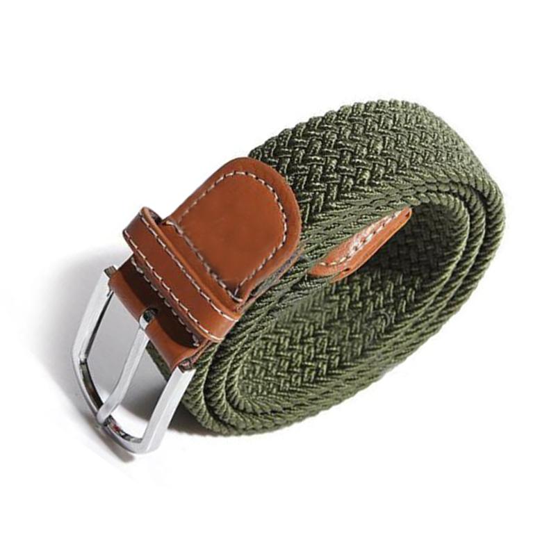 Homme-Femme-Cuir-Boucle-de-ceinture-en-toile-Ceinture-ceinture-elastique-Ce-O2K5 miniature 3