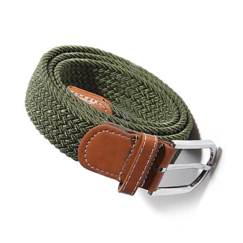 Homme-Femme-Cuir-Boucle-de-ceinture-en-toile-Ceinture-ceinture-elastique-Ce-O2K5 miniature 4