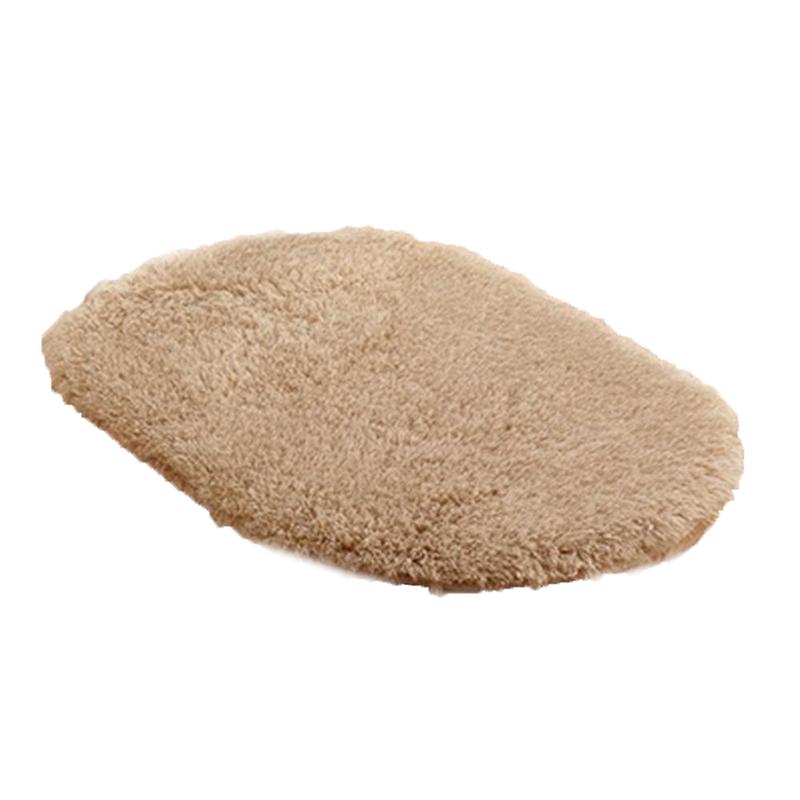 Oval Absorbent Soft Non-slip Rug Light tan Size:50*80m  U1O7