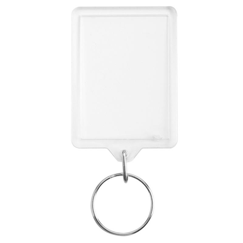100pcs 50 X 35mm New Blank Clear Acrylic Photo Key Rings Passport Size Keyr Z7L1