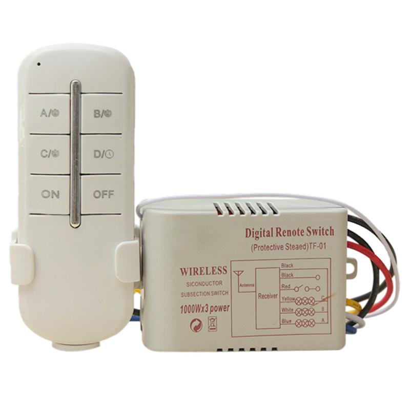 TUOXIN Wireless 3 Kanal ON/OFF 220V Lampe Schalter Fernbedienung ...