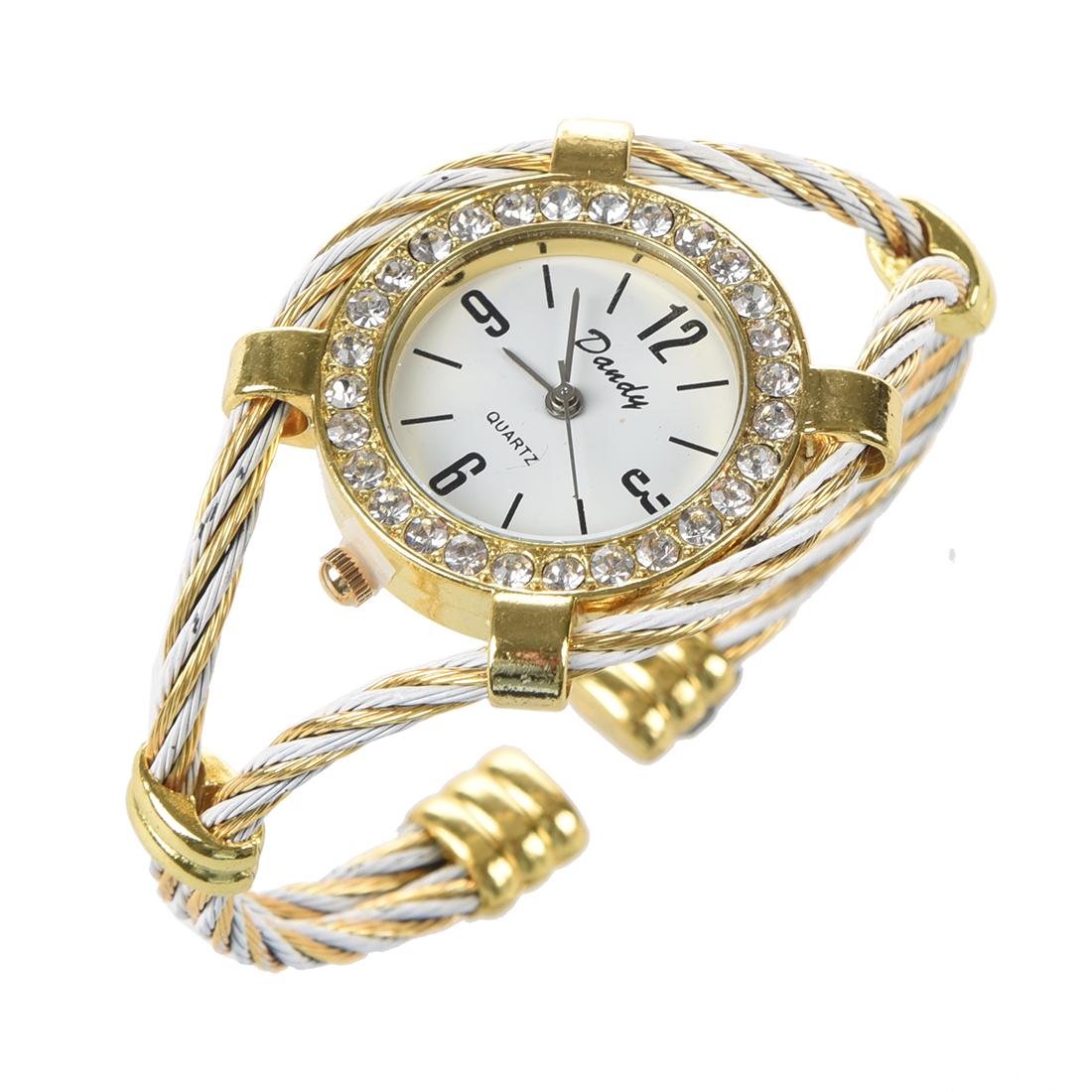 Gold Wrist Bracelet: H1 Gold Tone Rope Lady Rhinestone Wrist Watch Bangle