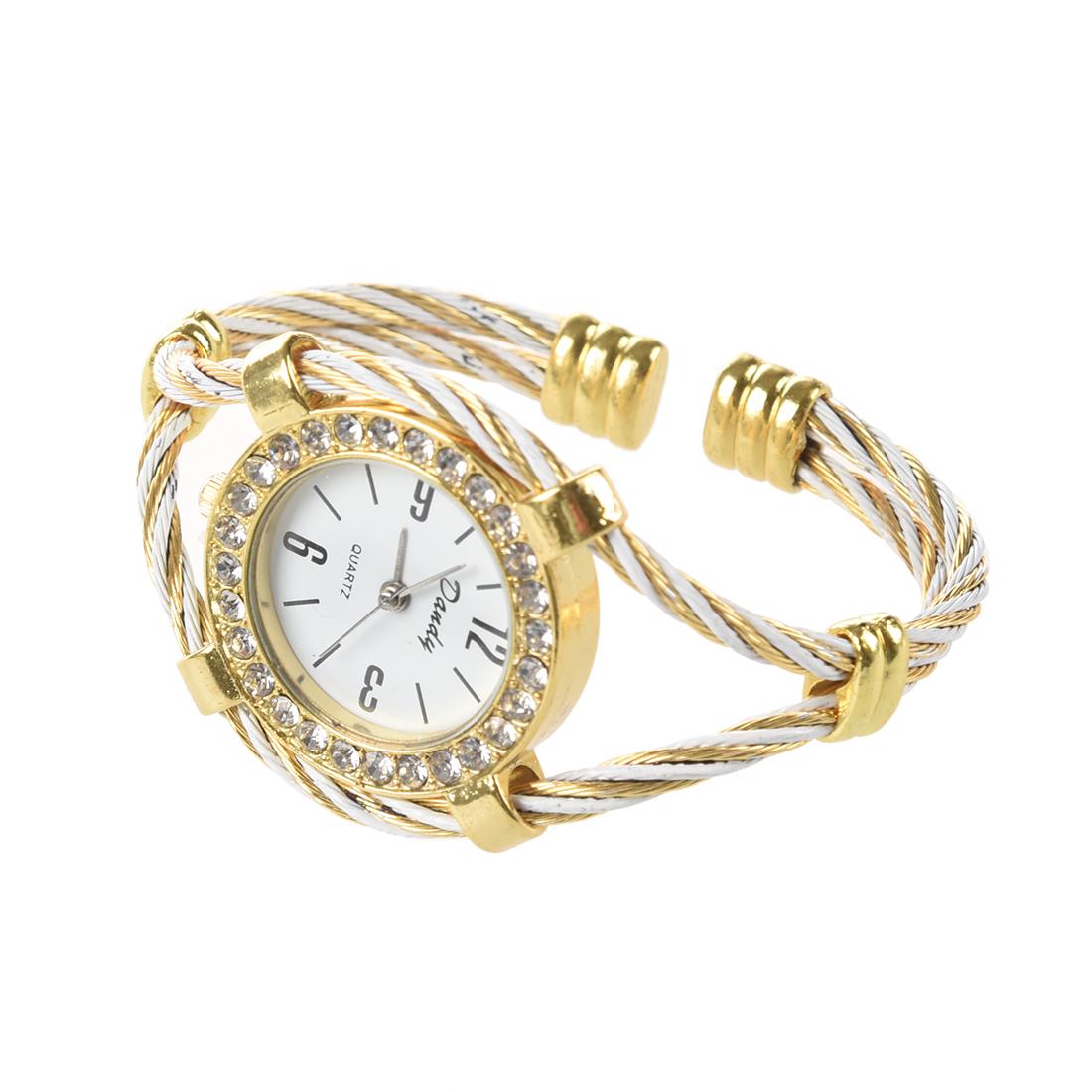 Gold Wrist Bracelet: Gold Tone Rope Lady Rhinestone Wrist Watch Bangle Bracelet