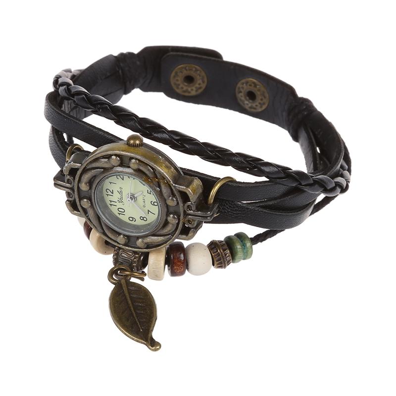 La imagen se está cargando Reloj-de-Pulsera-Cuarzo -Brazalete-Cuero-Negro-Trenzado- 9e859a7ec526