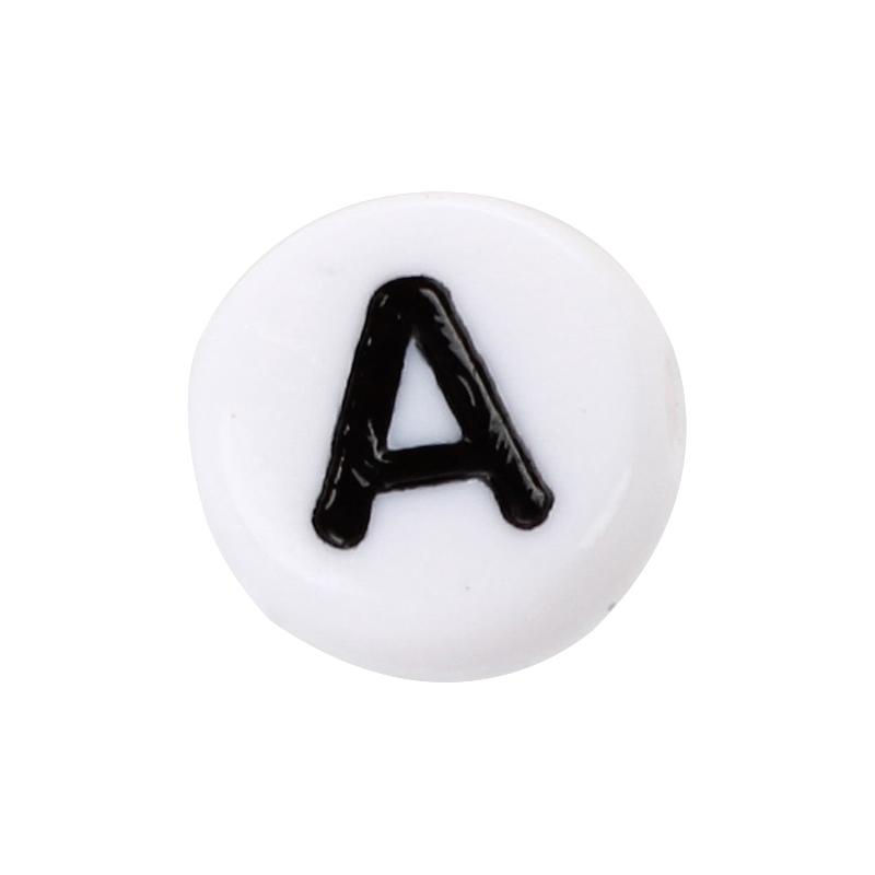 200x Weiss Rund Alphabet Buchstaben Spacer Perlen 7mm I8M8