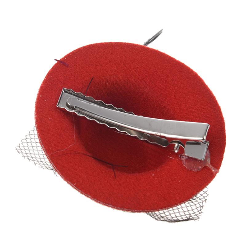 Women Party Rhinestone Decor Black Feather Red Mini Top Hat Fascinator Hai Y8D8