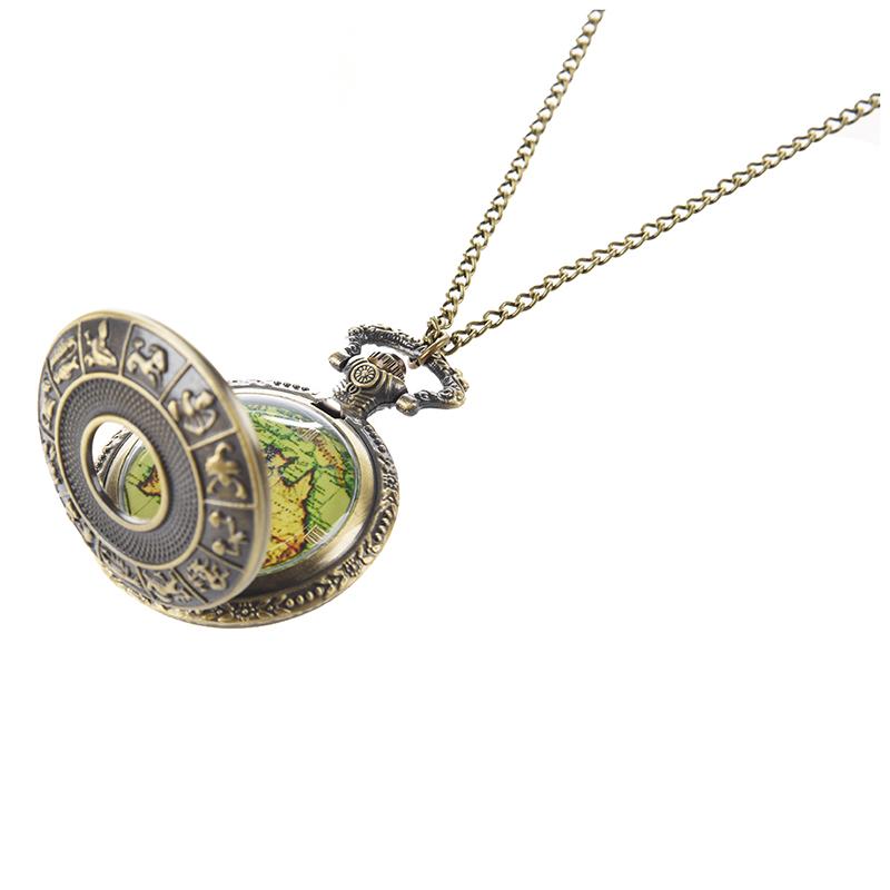 vintage old world map travelers pocket watch necklace