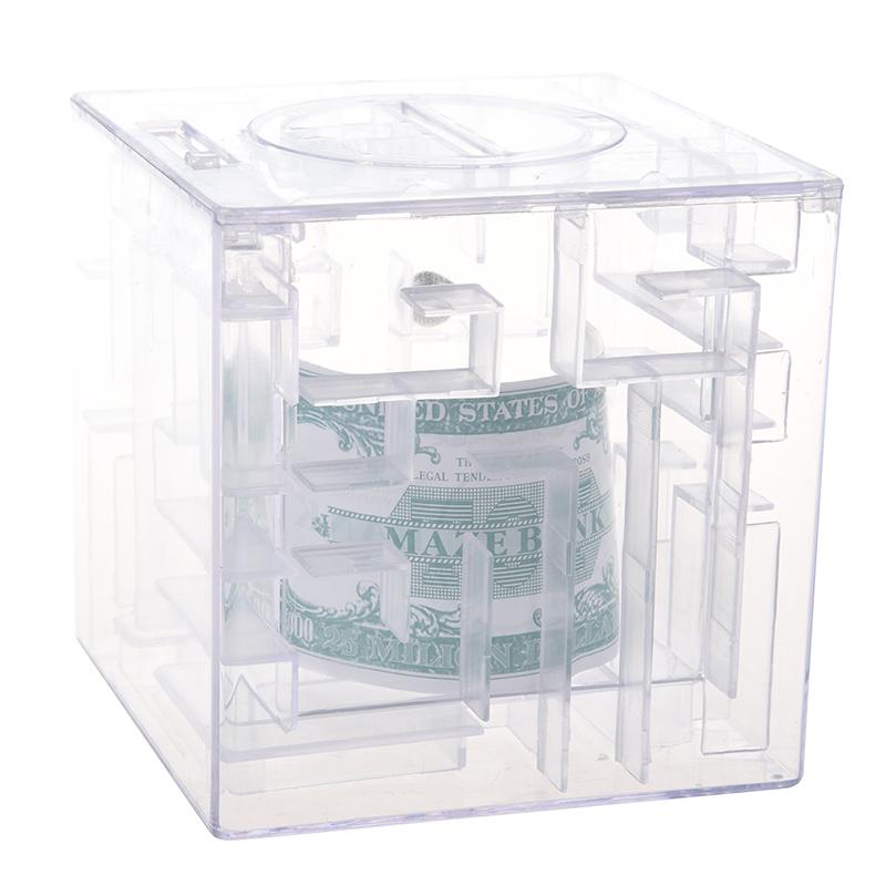Maze-money-Bank-3D-Puzzle-Box-Piggy-bank-currency-T7D7 thumbnail 3