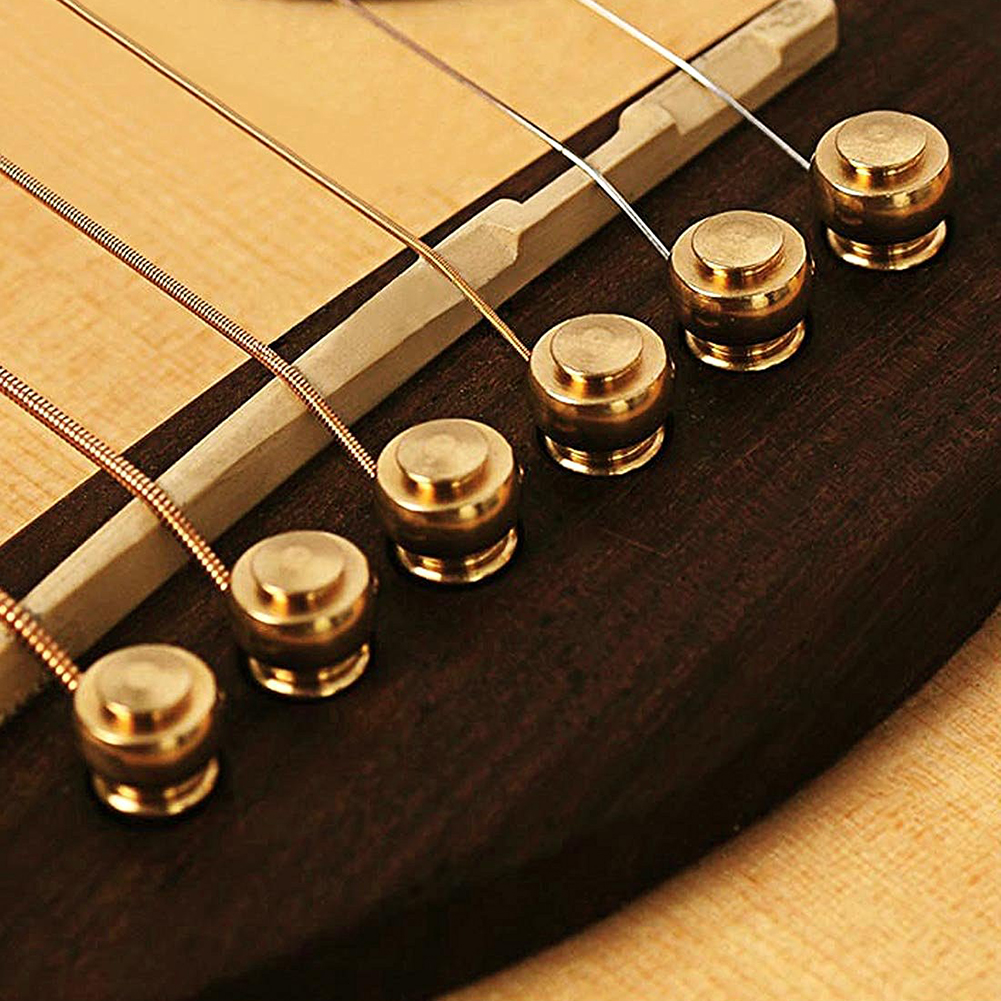 metal acoustic guitar bridge pins 6pcs brass guitar strings fixed cone t1 ebay. Black Bedroom Furniture Sets. Home Design Ideas