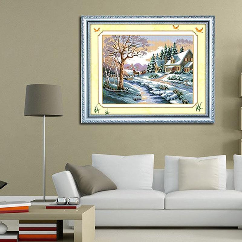 Winter-Schneekreuznadel-Landschaftsmalerei-Kreuznadel-R6B7 Indexbild 4