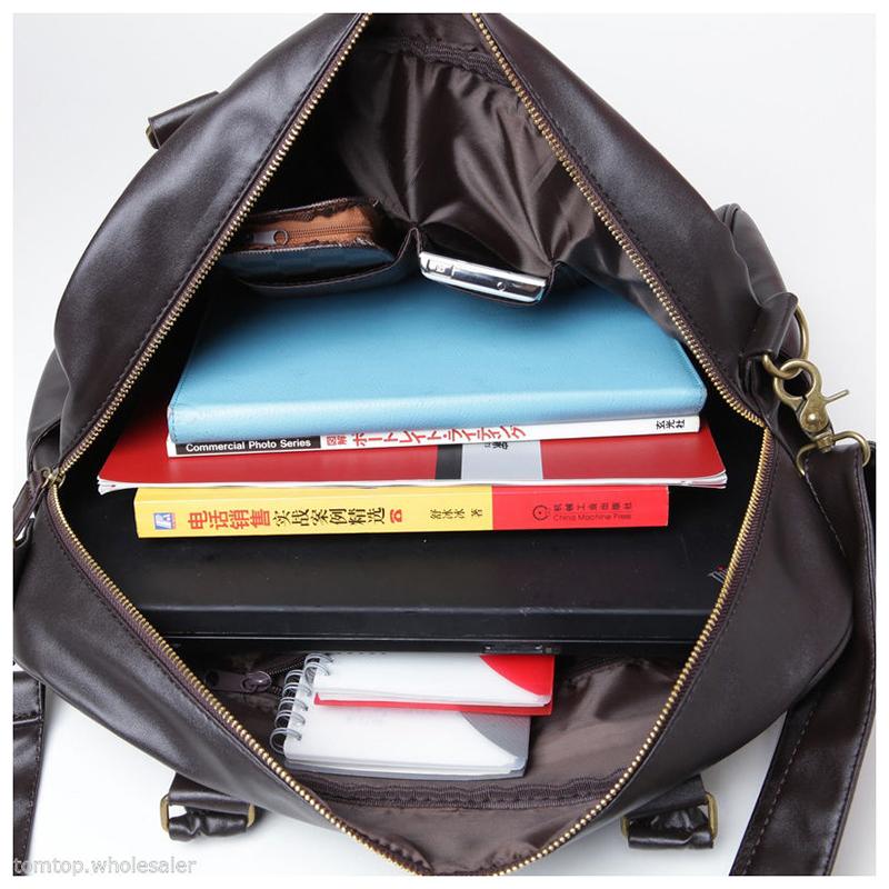 Men-Shoulder-Bag-Duffle-Satchel-Travel-Crossbody-Messenger-Handbag-PU-Leather-T9 thumbnail 5