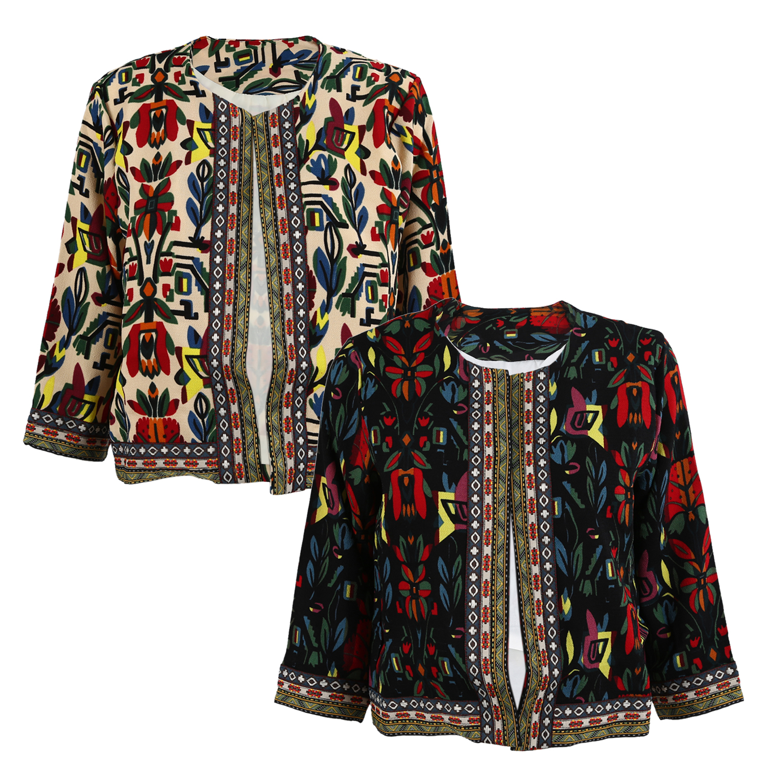 S vintage women lady ethnic floral print embroidered