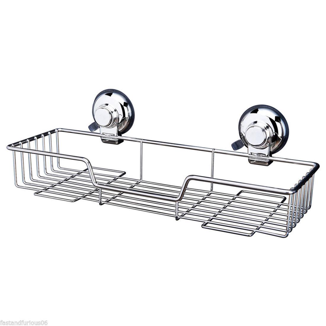 stainless steel bathroom kitchen shower wire basket storage caddy suction sp