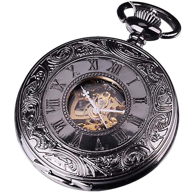 Metal-pocket-watch-mechanical-analog-elegant-design-Black-O4L4