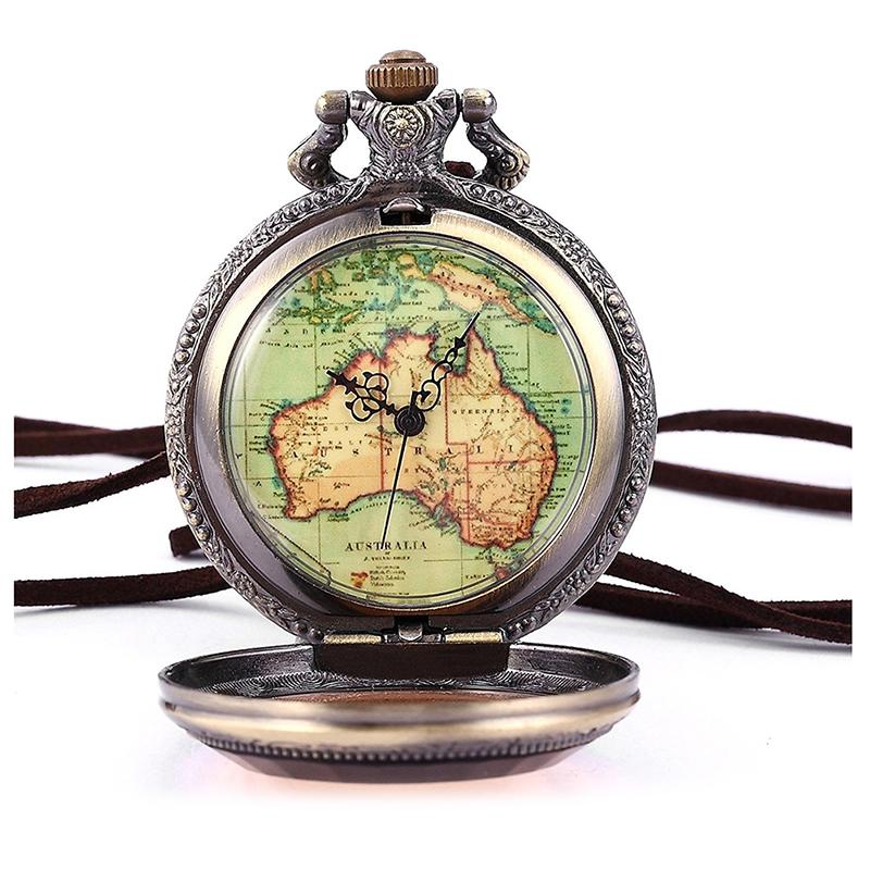 image is loading australia map pocket watch analog quartz watch bronze