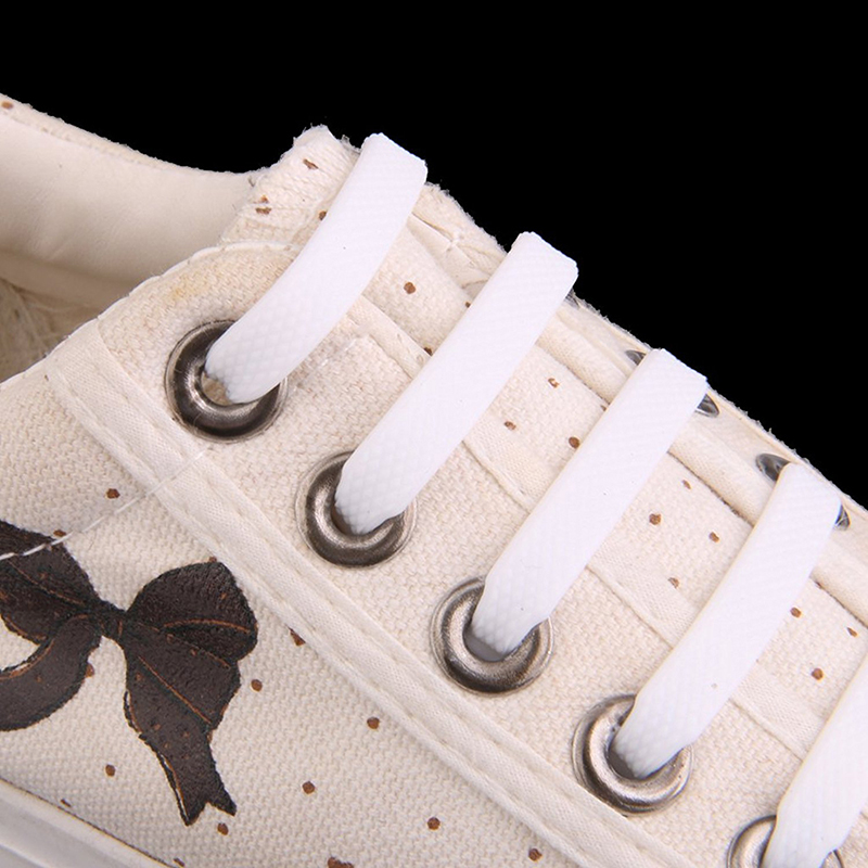 Coolnice-Elastic-Silicone-Non-Lace-Up-Laces-For-Children-Shoes-White-X9I2