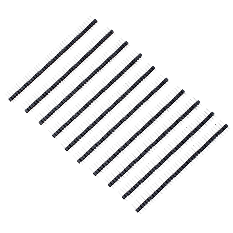 10 pcs 1x40 pin 2 54mm pitch straight single row pcb pin