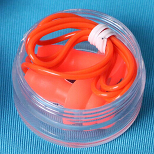 1 Pair Soft Silicone swimming Ear Protection Plugs with String Cord Red